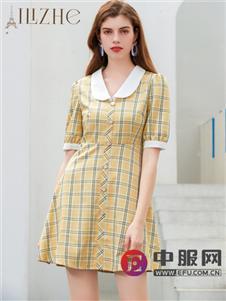 艾丽哲中袖时尚修身格子连衣裙
