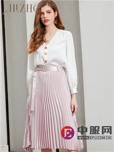 艾丽哲新款粉色气质半身裙