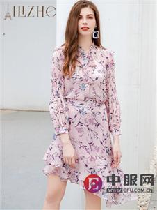 艾丽哲新款时尚不规则雪纺裙