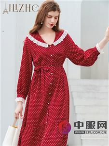 艾丽哲新款红色波点连衣裙
