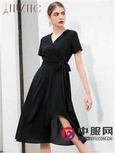 艾丽哲新款黑色收腰连衣裙