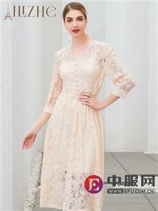 艾麗哲春夏新款中長袖連衣裙
