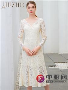 艾麗哲純色蕾絲鏤空連衣裙