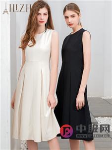 艾麗哲新款無袖純色連衣裙