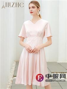 艾麗哲淺粉色時尚收腰連衣裙