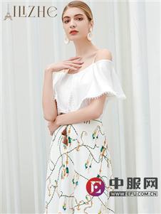 艾丽哲一字肩时尚气质连衣裙