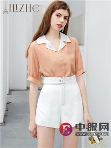 艾丽哲新款时尚中袖衬衫