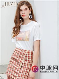 艾丽哲新款印花白色T恤