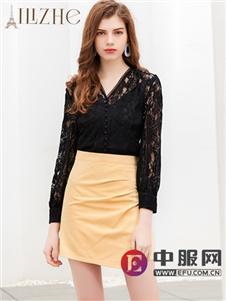艾丽哲新款黑色镂空时尚T恤