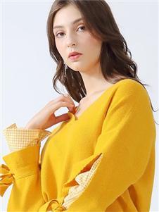 丹比奴女装丹比奴黄色针织衫