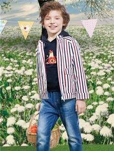 铅笔俱乐部春季新款条纹外套