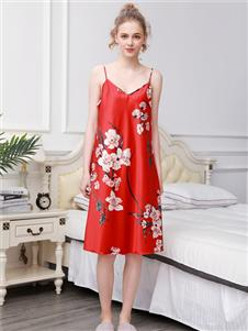 珍妮芬红色印花吊带裙