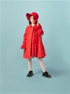 水孩兒女童新款紅色外套