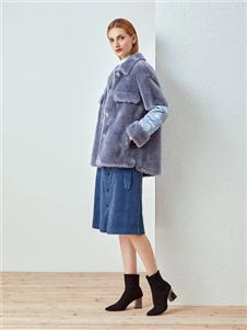 哥邦女装哥邦蓝色毛绒外套