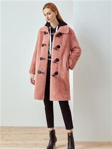 哥邦女装哥邦粉色毛绒外套