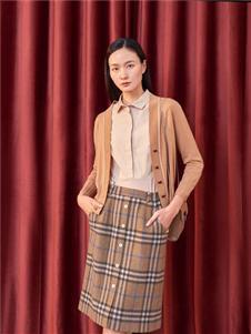 淺秋格子半身裙