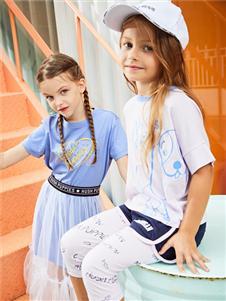 暇步士童装春季新款浅色T恤