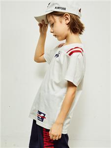 暇步士新款时尚气质白色T恤