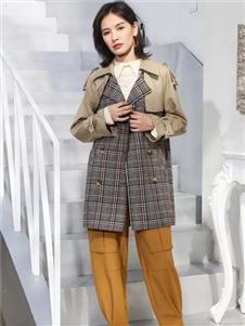 雀啡女装春夏新款格子外套