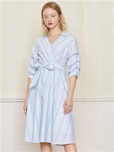 雀啡新款时尚收腰衬衫裙