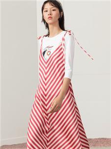雀啡新款时尚气质条纹连衣裙