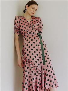 雀啡新款波点时尚连衣裙