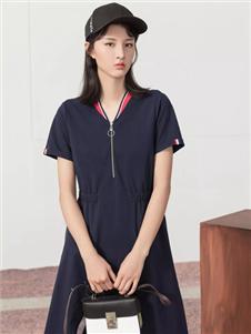 雀啡纯色气质时尚收腰连衣裙