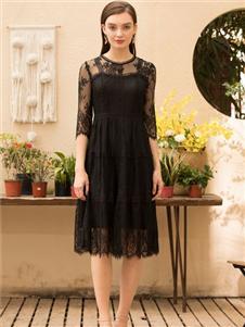 MEISOUL黑色蕾丝连衣裙
