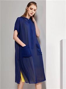 柒秀深蓝色连衣裙