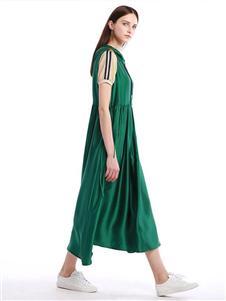 柒秀绿色连衣裙