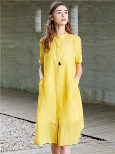 柒秀黄色连衣裙