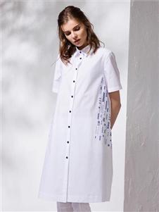 柒秀白色连衣裙