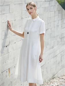 柒秀白色优雅连衣裙