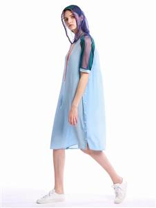柒秀拼接蓝色连衣裙