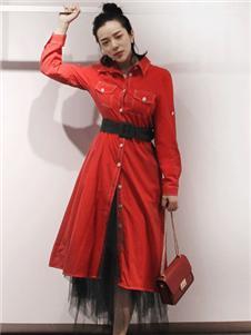 筱陌红色风衣