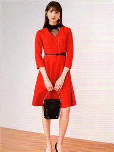 衣魅人2020红色连衣裙