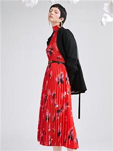 佧茜文2020紅色連衣裙