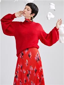 佧茜文2020红色毛衣