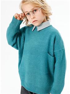 李田胡蓝色针织衫