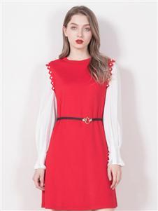 柏维娅红色连衣裙
