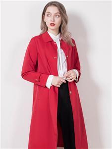 柏维娅红色风衣