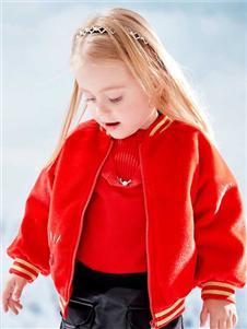 青蛙王子女童红色加厚外套