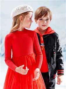 青蛙王子女童冬红色裙子