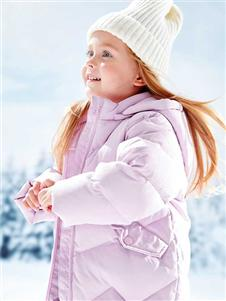 青蛙王子女童冬粉色外套