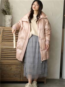 芭依璐粉色羽绒衣