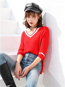 傲丝度红色针织衫