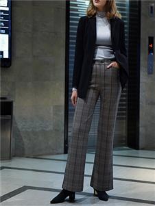 黑贝格子长裤