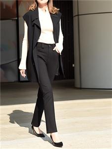 黑贝黑色休闲裤