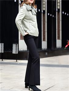黑贝黑色喇叭裤