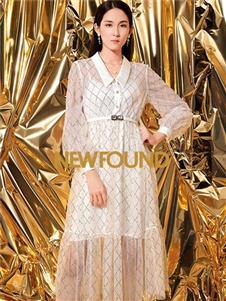 紐方2020春款白色連衣裙